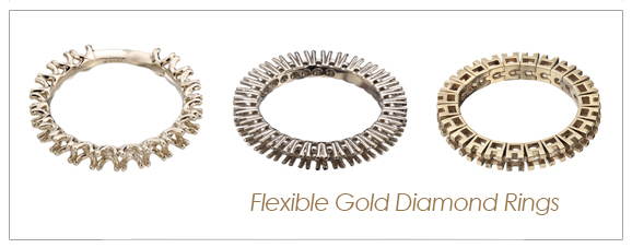 Flexible gold diamond rings