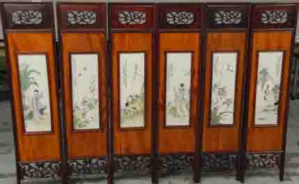 This set of six diminutive Chinese porcelain famille rose panels fetched $57,600