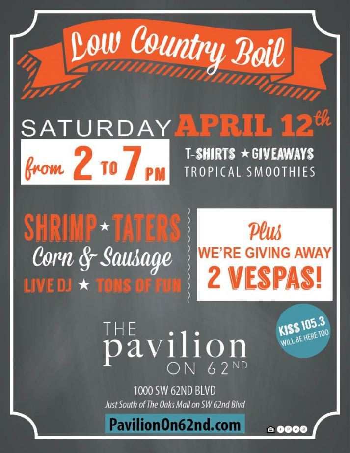 The Low Country Boil will take place on Saturday, April 12, 2014 from 2-7PM