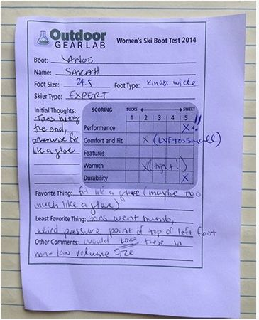 An inside look at OutdoorGearLab's survey testing of women's ski boots.