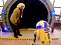 Marshall Barnes, R&D Eng with a R2D2 at a StarGate replica (Copyright 2014)