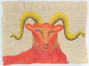 Aries intensity abounds this month. Aries watercolor © Anne Nordhaus-Bike.
