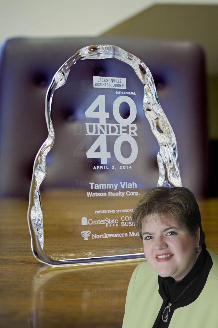 """Tammy Vlah  and her JBJ """"40 Under 40"""" Award"""