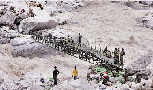Army engineers swiftly constructed a steel girder bridge across the Alaknanda
