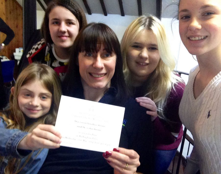 Cerys with her letter and Kip McGrath Neath students