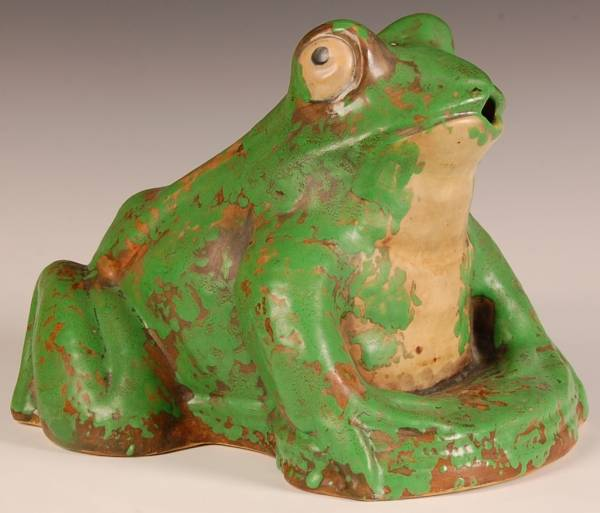 This Weller Coppertone frog garden sprinkler will be auctioned on April 26th.