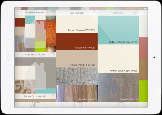 iPad® Home Screen with Paint, Flooring, and Rug in Spanish