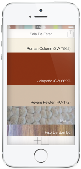 iPhone®Home Screen with Paint, Flooring, and Rug in Spanish
