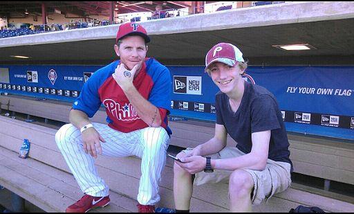 Phillies Pitcher Justin De Fratus with Devon Prep Freshman Joe Orsatti.