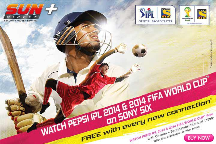 Sun Direct DTH 2014 IPL & FIFA World Cup Offer