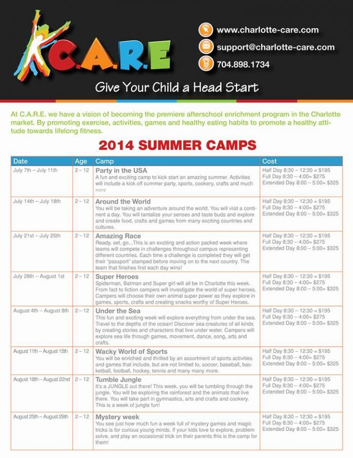 care announces newly expanded and improved summer camp