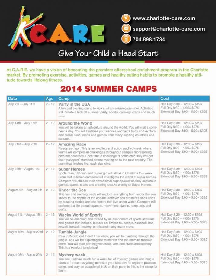 Charlotte Summer Schedule