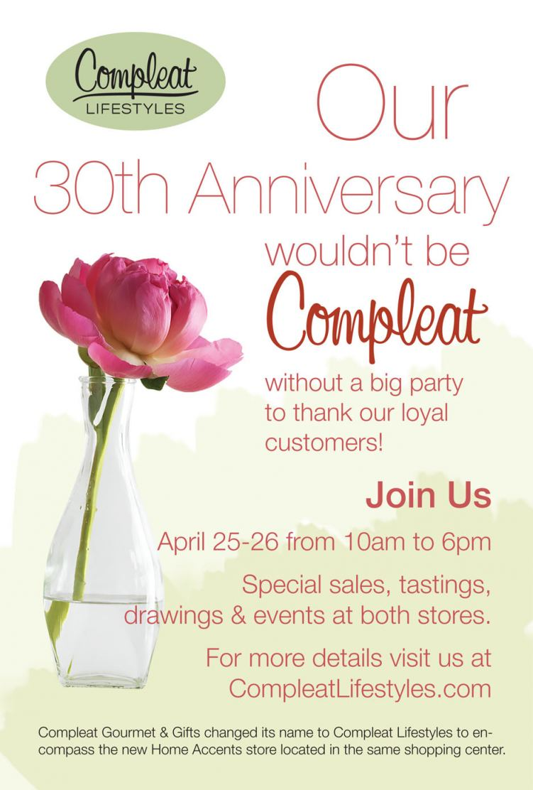 Compleat Lifestyles is celebrating its 30th anniversary.