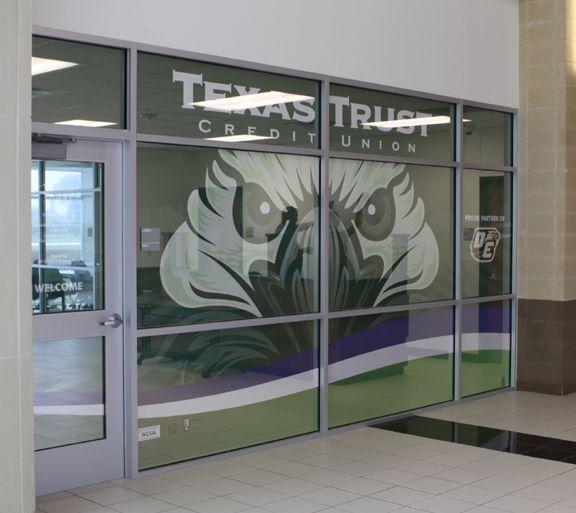 Interior Window Artwork of Texas Trust's DeSoto High School Branch