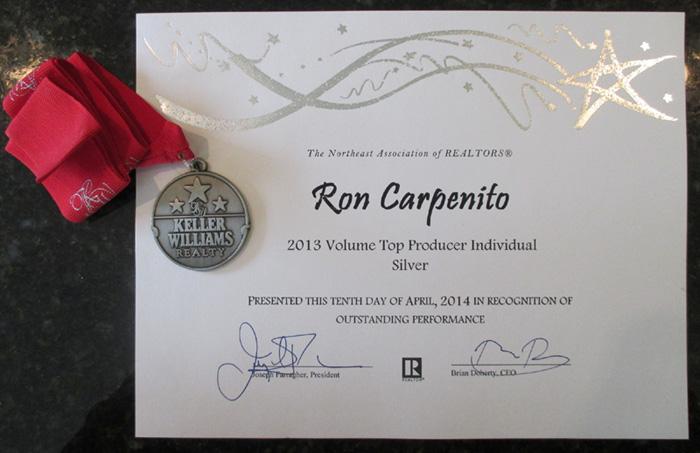 Ron Carpenito, Keller Williams Realty - Volume Top Producer Award