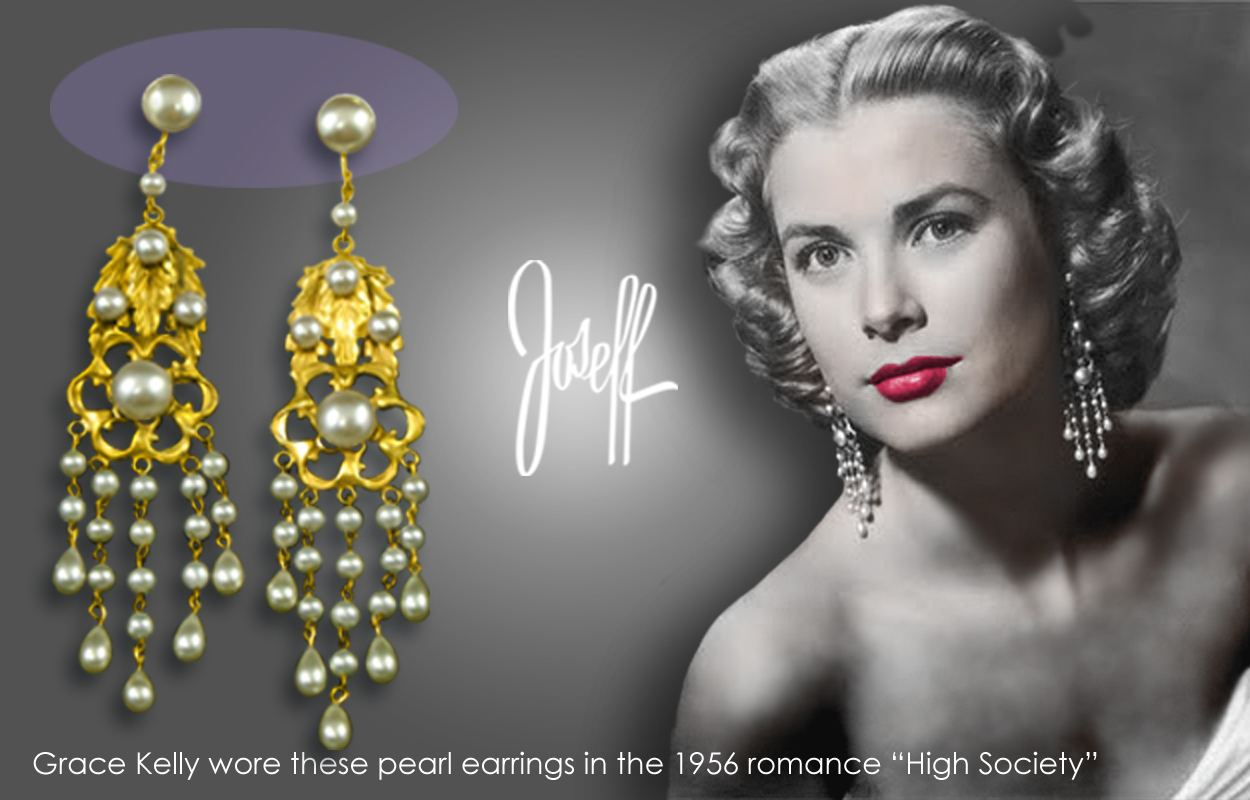 "Grace Kelly in ""High Society"" wearing Joseff of Hollywood earrings"