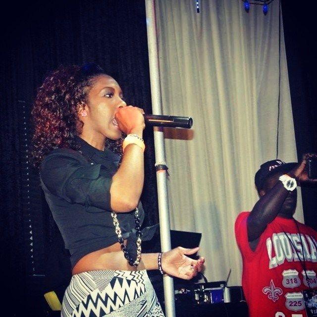 Lady Cam rockin' the mic