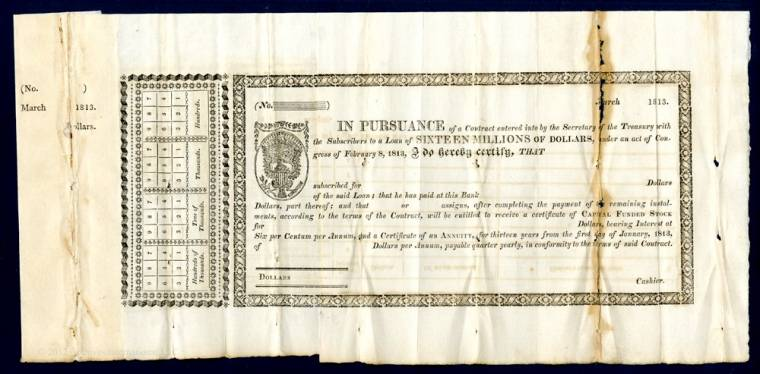 This War of 1812 capital funded stock receipt remainder will be sold May 20th.
