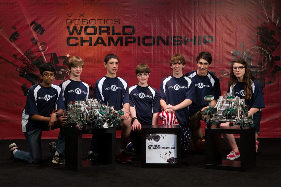 Team 90C Cyclops and 81W Wolverines teams at VEX robotics World Championships