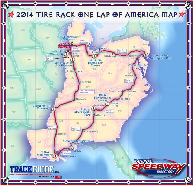 2014 One Lap of America travel route