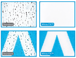 Images of white ink & overprints on clear – with and without WhiteFX™.