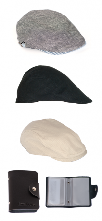 Flat Cap and Newsboy Cap with Free Leather Cardholder, Credit Card Wallet