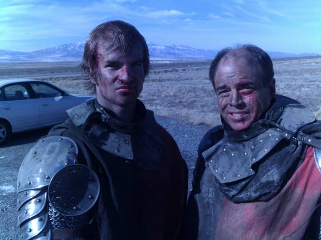 Joseph and Dave Bresnahan taking a break during Mythica filming.