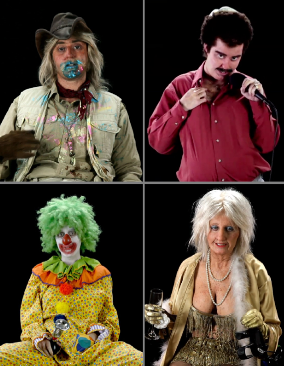 Katy Perry in character as (clockwise from top L) Ace, Yosef, Goldie, & Kriss.