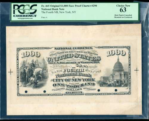 This rare proof of an original series $1,000 U. S. banknote will be sold May 29.
