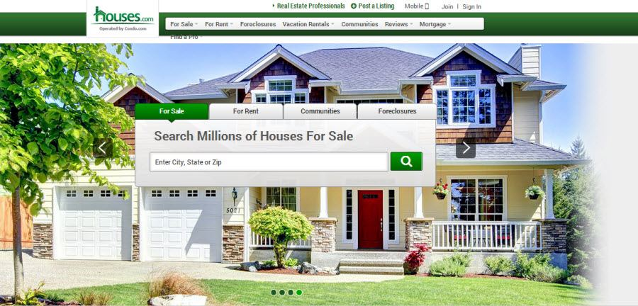 Houses.com Home-Page Screenshot
