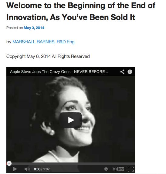 Screen shot from Marshall Barnes'  first blog post at Paranovation