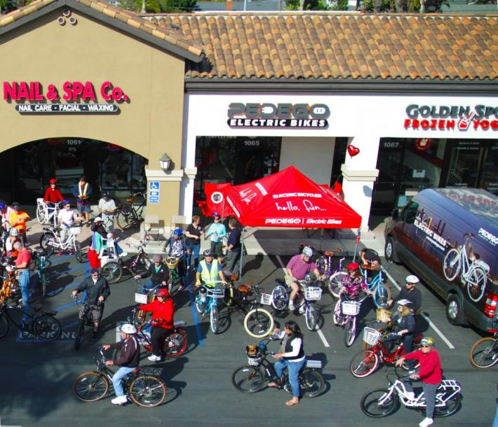 Pedego dealerships like this one often host parties and group rides.