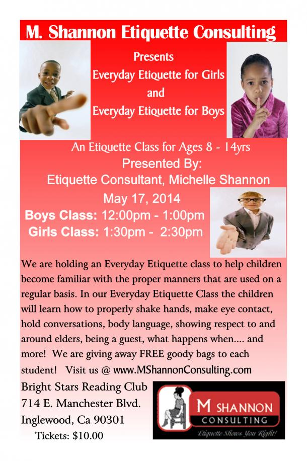 Everyday Etiquette Class Flyer May 17th