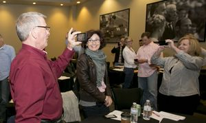 At RE/MAX Tech Day, brokers practiced video graphing with their smartphones.