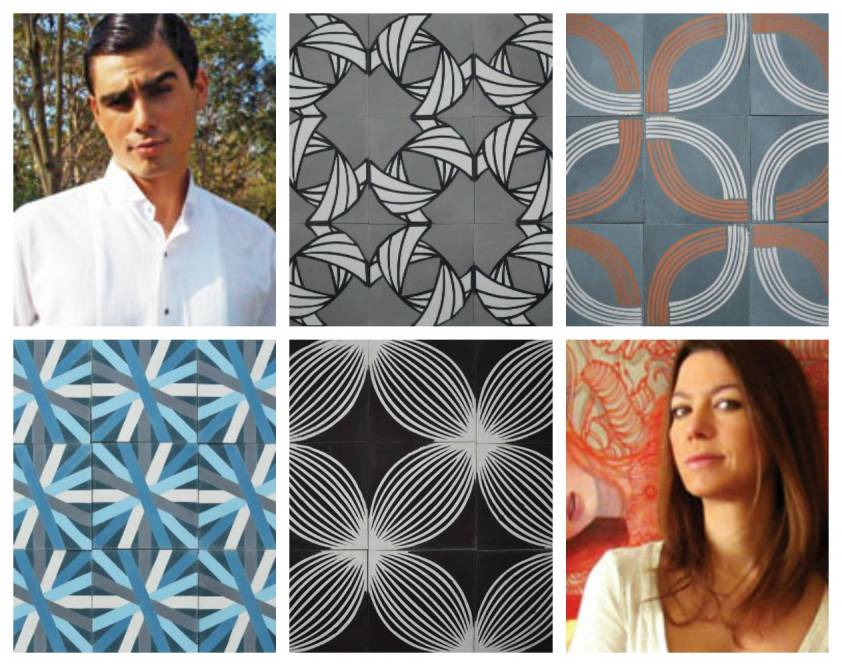 Artists Guillermo Gomez Lama and Tania Marmolejo and their cement tile designs.