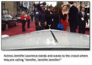 Actress Jennifer Lawrence after falling on the Red Carpet