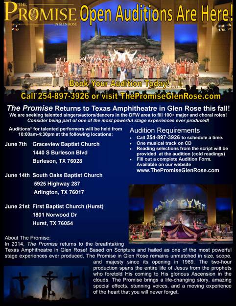 The Promise in Glen Rose Auditions 2014