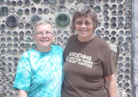 Linda L. &  Oma L. in front of Truckhenge bottle wall