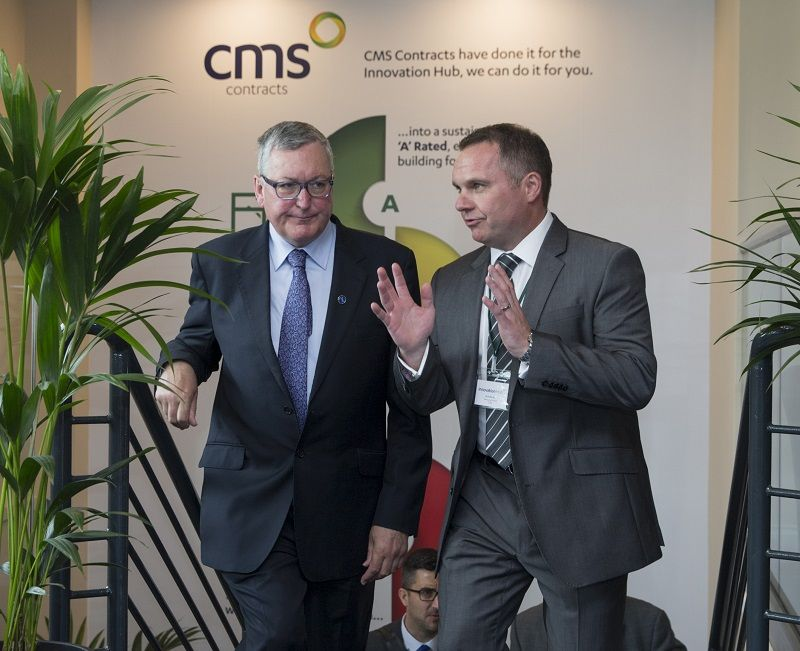 Energy Minister Fergus Ewing (left) with Andy Kerr, MD of CMS Window Systems