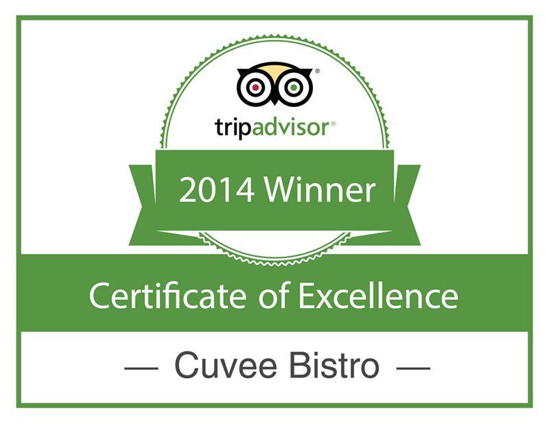 Cuvee Bistro Wins 2014 Tripadvisor Award of Excellence