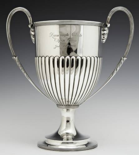 Three pieces of English sterling, to include this loving cup, will be auctioned.