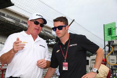 Al Unser Jr. (left) is pictured with driver James Davison of KV Racing.