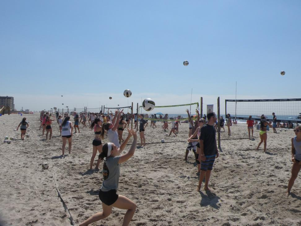 Volleyball action in Long Beach, NY