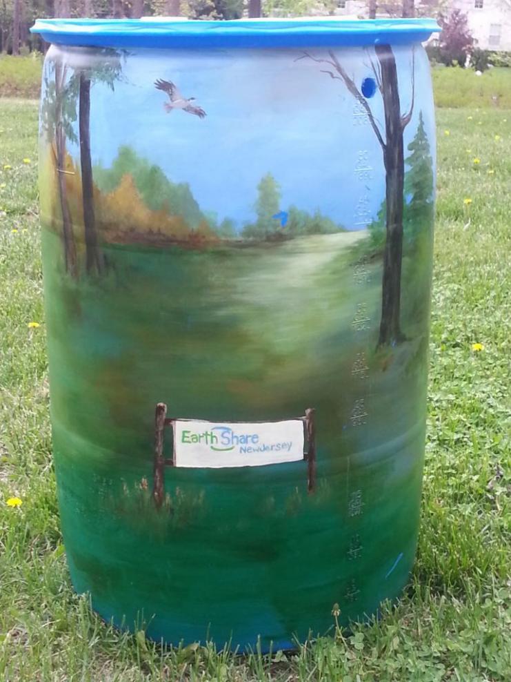 EarthShare NJ's Auction Rain Barrel Art painted by artist Diane Novobilsky