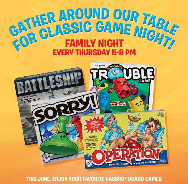 June Family Nights with Hasbro at Buffet Restaurants