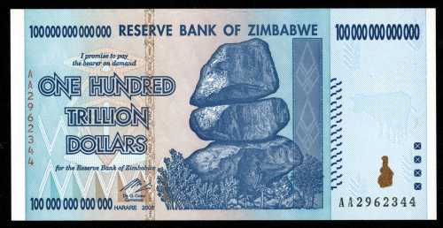 This Zimbabwe banknote for a staggering $100 trillion will be on exhibit.