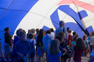 Students explore inside the RE/MAX Hot Air Balloon