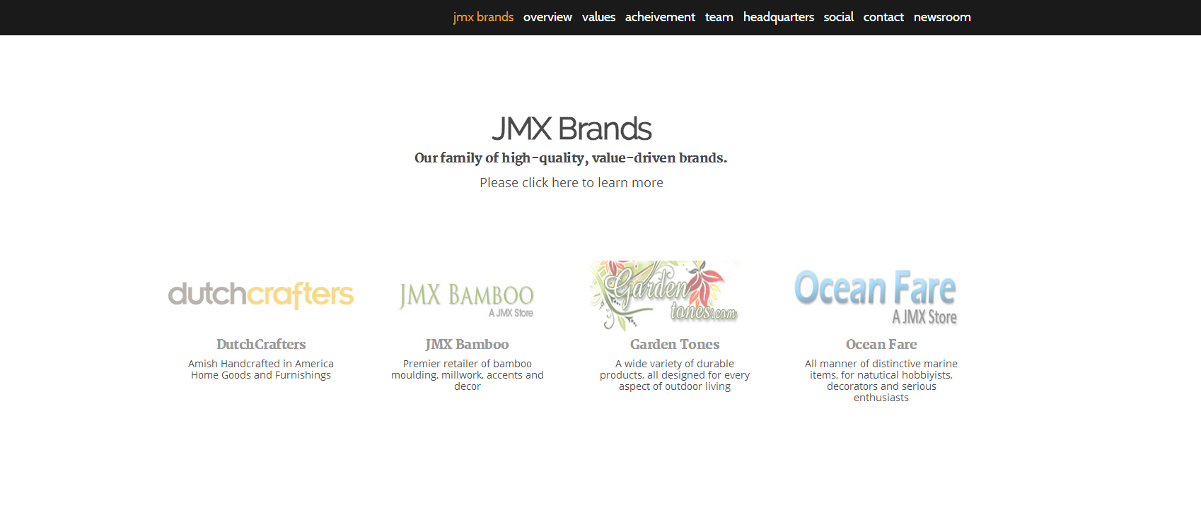 The JMX Brands family of stores, as featured on the new JMXBrands.com