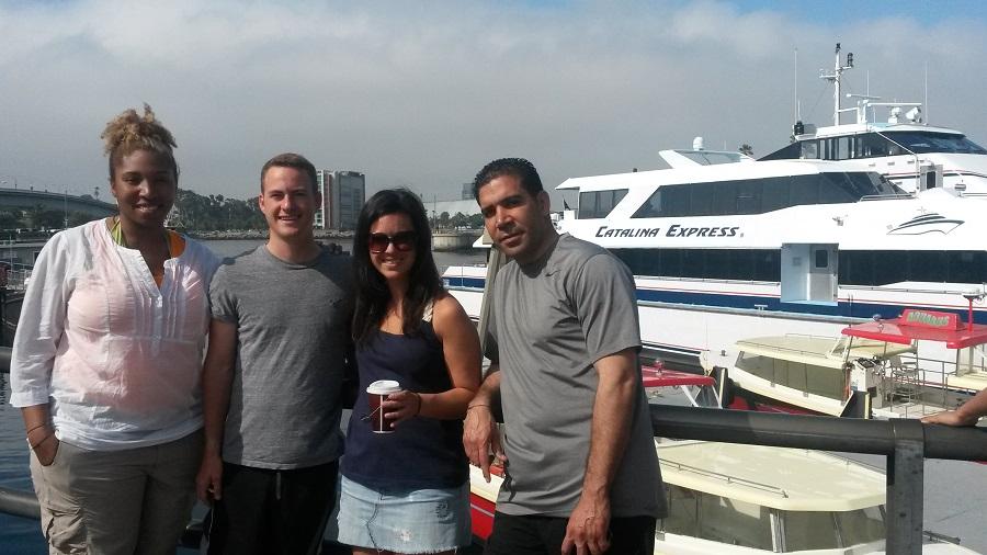 The group at the marina