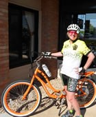 Cathy Rogers will ride her Pedego Comfort Cruiser across the USA this month.